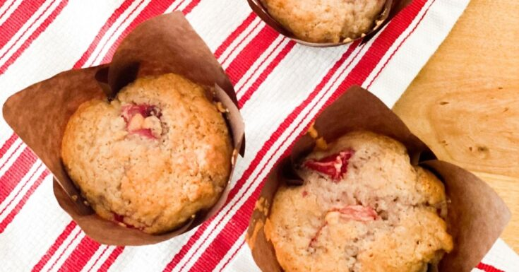 strawberry sour cream muffins, red and white dish towel
